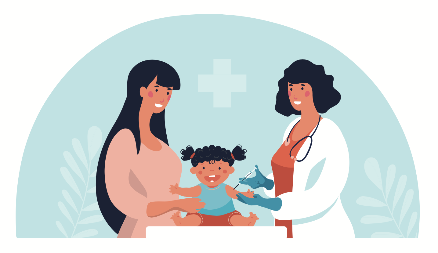 illustration of physician with parent and young child